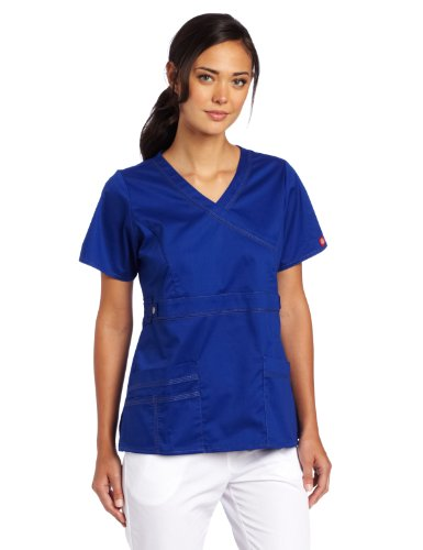 Dickies Scrubs Women's Gen Flex Junior Fit Contrast Stitch Mock Wrap Shirt, Galaxy Blue, XX-Large