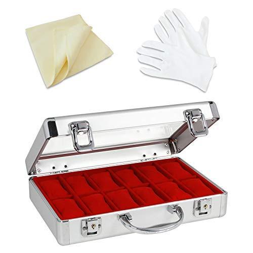 SAFE 265-1 ALU Uhrenaufbewahrungsbox Herren für 12 Uhren - inklusive Handschuhe und Reinigungstuch - Schmuckhalter in rotem Samt - abschließbare Uhren Box mit Glasdeckel und abnehmbaren Uhrenkissen