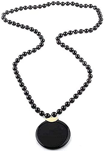 LKLFC Collar para Mujer Collar para Hombre Collar Colgante Joyas Piedras Bohemias D Ágata Natural Piedra Redonda Collares Colgantes Redondos para Collar étnico Collar Colgante Regalo para niñas niños