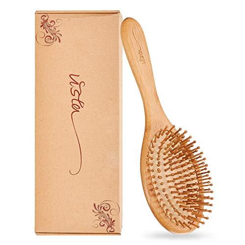 Vista Brosse A Dent Bambou Peigne Cheveux Boucles Antistatiques Massage Avec Coussinet Naturel Des Cheveux