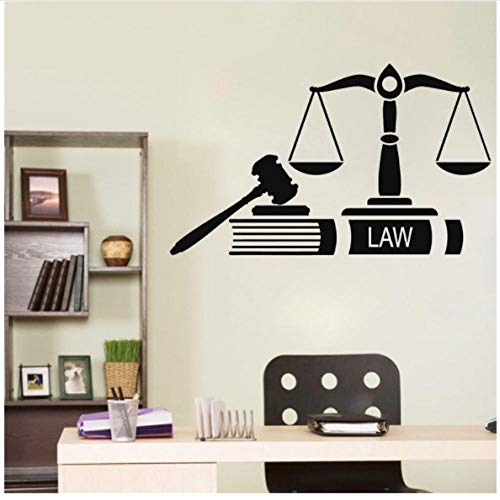Muursticker Justitie Recht Firm Court Studio Vinyl Window Stickers Interieur Decoratie Hamer Weegschaal Fair Art Mural Verwijderbare 57x34cm