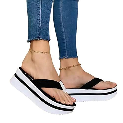 ZRSH SandaliasMujer, Sandalias Informales con Tiras para Mujer Color sólido Pellizco Chanclas Mujer Sandalias Fondo Grueso Talón Pendiente Mujer Sandalia