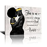 Drawpro African American Wall Art Black Silhouette Black King And Queen Canvas Wall Art Hanging Painting afro american wall art Watercolor Living Classroom Home Decor 20x24 Inch
