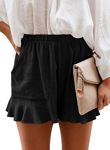 Paitluc Shorts for Women Ruffle Hem Elastic Waist Solid Casual Shorts Pants with Pockets Black S