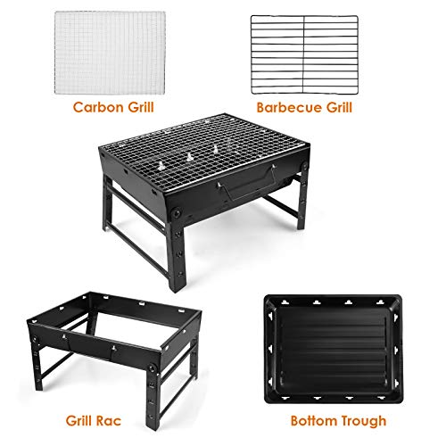 LBLA Portable Charcoal Barbecue Grill, Outdoor Foldable BBQ Grill for Garden Cooking Camping Picnic Terrace Travel