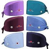 6 Gorras Bouffant Transpirables Sombrero Ajustable de Cinta de Sudor en Espalda