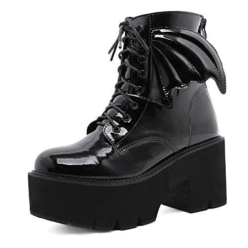 Charmstep Frauen Blockabsatz Schnürstiefeletten Plateau High Heels Combat Boots Gothic Party Stiefel Mit Flügeln,Schwarz,36 EU