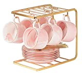 Kiwilon Gold Color Metal Cup and Saucer Display Stand Holder with 6 Hooks Hanger Rack for Kitchen Organizer