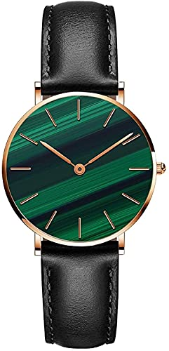 QHG Reloj de la Pulsera de Las Mujeres Moda Peacock Green Dial Wristwatch Relojes analógicos a Prueba de Agua con Banda de Cuero (Band_Color : Black)