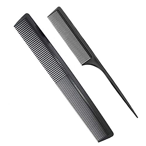 Professional Teasing Comb Fine and Wide Tooth Hair Barber Comb Black Carbon Fiber Cutting Comb Styling Comb Hairdressing Comb For All Hair Types