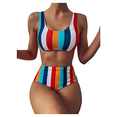 Bañador para Mujer Dos Piezas Sexy Push up Estampado Bañador Moda Cintura Alta Raya Bikini Ajustables Halter Top Dividido Traje de baño Ropa de Playa