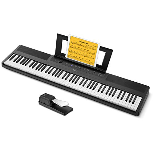 Donner DEP-45 Beginner Digital Piano 88 Key Electric Keyboard, Full Size Semi Weighted Keys, Sustain Pedal, 10 Premium Voices, 20W Built in Speakers, Headphone Output, Powerful Educational Features