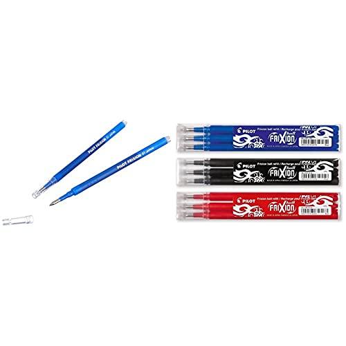 Pilot frixion ball tintenroller, repuesto de tinta, 0.7 + Frixion – Sets de 3 bolígrafos roller de tinta en los colores azul, rojo, negro, 3 x 3 unidades (total 9 unidades)