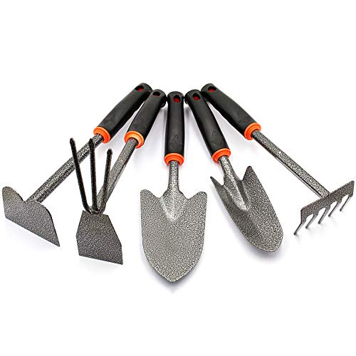 Zero Home Garden Tool Set, 5 Piece Steeel Heavy Duty Gardening Kit Includes Hand Trowel, Transplant Trowel, Weeding Fork Cultivator Hand Rake with Soft Rubberized Non-Slip Ergonomic Handle