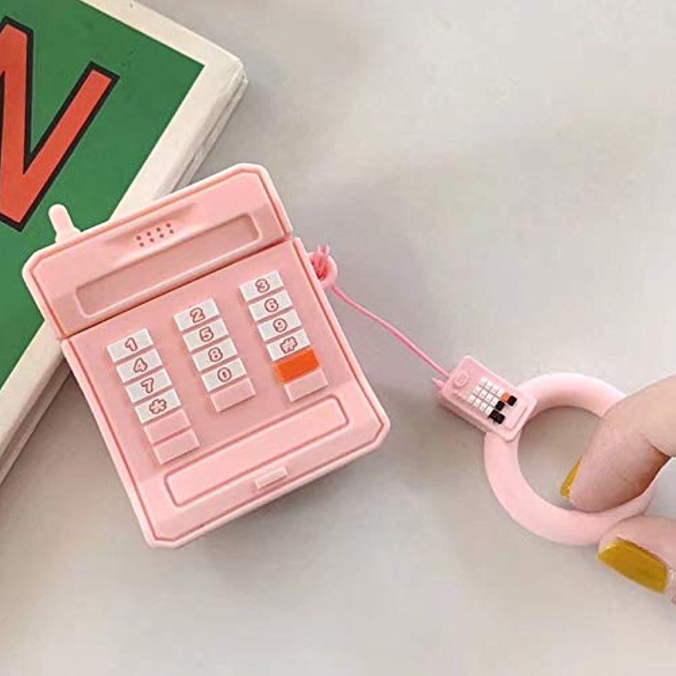 酒ジョグ見物人DARLE HOME AirPods用保護カバーシリコン漫画のBluetoothヘッドセットシリコン落下防止リングストラップ (Color : Pink)
