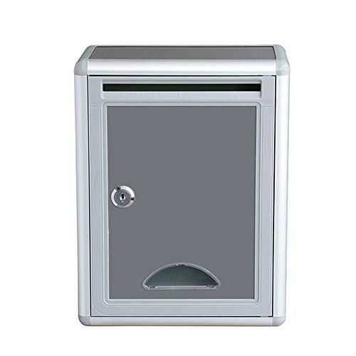 YoLiy Briefkästen, abschließbar, zur Wandmontage, Aluminium, Vorschlagsbox mit Schloss, Spendenbox, Sammelbox, Wahlurne, Schlüsselkasten, einfach zu installieren, silber, 22x12x19cm