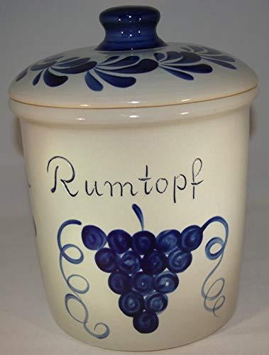 Töpferei Seifert Rumtopf 5 Liter grau blau Steinzeug