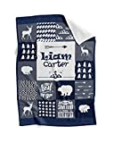 Personalized Baby Blankets - Customized Baby Blanket with Name for Boy - Custom Baby Blankets for Newborn Boys - Soft, Lightweight & Giftable Baby Shower (Navy)