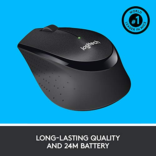 Logitech M330 Silent Plus Wireless Mouse – Enjoy Same Click Feel with 90% Less Click Noise, 2 Year Battery Life, Ergonomic Right-Hand Shape for Computers and Laptops, USB Unifying Receiver, Black
