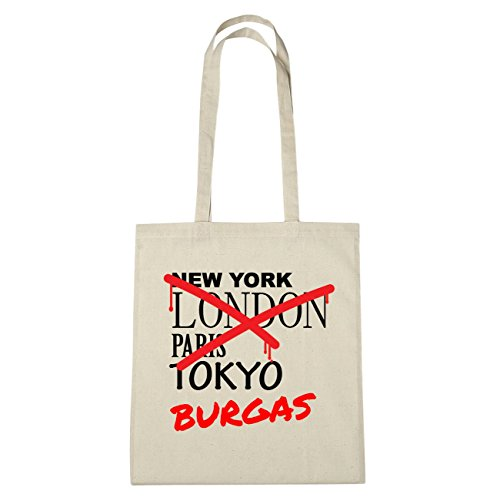 JOllify Burgas Cotton Bag B3810, Cotton, natur: Graffiti Streetart New York