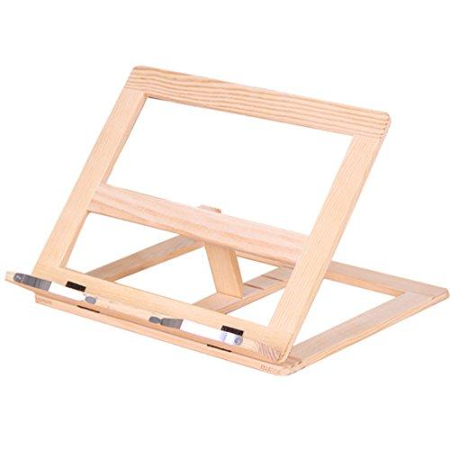 Kookboekhouder, Foxom Wood Opvouwbare boekenkast Tablet Stand met Verstelbare Achterkant voor Kookboek, Recept, iPad Air 2 3 4, Kindle, Samsung Tablet en Meer