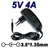 TopChargeur - Cargador adaptador de alimentación de salida de CC 5 V, 4 A, 4000 mA y 20 W, certificado CE, conector de 3,5 mm x 1,35 mm, sustituye 5 A, 1,5 A, 2 A, 2,5 A, 3 A, 3,5 A, 4 A.