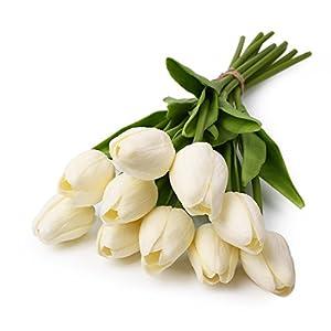 10pcs artificial Real Touch sint¨¦tica Tulipanes Flores Tallo ¨²nico Bouquet Home Room Decor