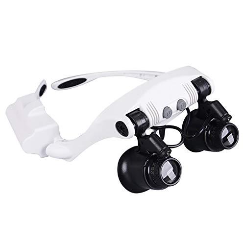 dailylime Gafas de lupa de reparación de relojes lentes de plástico acrílico óptico 2 luces LED ampliación 10x 15x 20x 25x para reparación de relojes apreciación de antigüedades producción de top sale