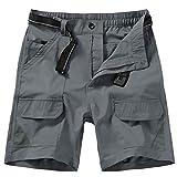 Jessie Kidden Men's Outdoor Sport Casual Elastic Waist Lightweight Water Resistant Quick Dry Cargo Fishing Hiking Shorts (6018 Dark Grey 40)