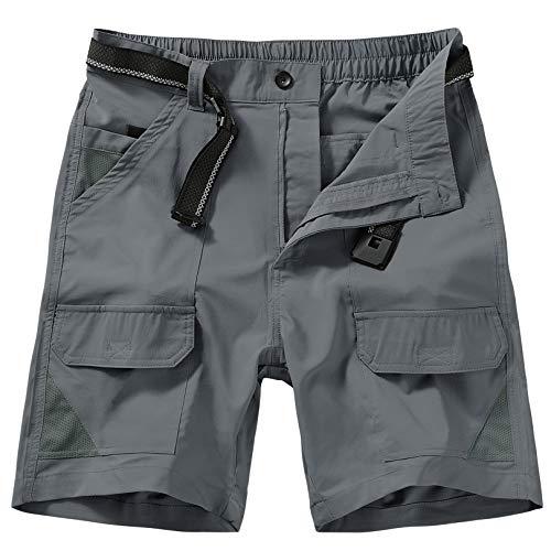 Jessie Kidden Men's Outdoor Sport Casual Elastic Waist Lightweight Water Resistant Quick Dry Cargo Fishing Hiking Shorts (6018 Dark Grey 34)