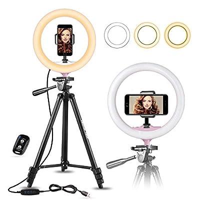 "UBeesize 10"" Selfie Ring Light with 50"" Extendable Tripod Stand & Flexible Phone Holder for Live Stream/Makeup, Mini Desktop Led Camera Ringlight for YouTube Video"