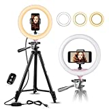 10' Selfie Ring Light with 50' Extendable Tripod Stand & Flexible Phone Holder for Live Stream/Makeup, UBeesize Mini Led Camera Ringlight for YouTube Video, Compatible with iPhone/Android (Pink)