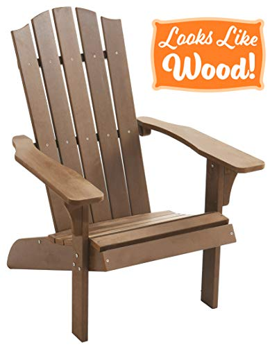PolyTEAK Element Faux Wood Poly Adirondack Chair, Brown | Adult-Size, Weather Resistant, Made from Special Formulated Poly Lumber Plastic