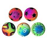 LIOOBO 5 Pcs Couleur Balles Rebondissantes Balles de Jeux Balles Arc-en-Ciel Jouets pour Aire de Jeux Extérieure Intérieure (Motif Aléatoire)