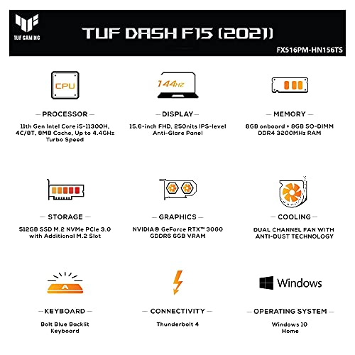 ASUS TUF DASH F15 (2021), 15.6-inch FHD 144Hz, Intel Core i5-11300H, GeForce RTX 3060 6GB Graphics, Gaming Laptop (16GB RAM/512GB SSD/Office 2019/Windows 10 Home/Moonlight White/2 Kg), FX516PM-HN156TS
