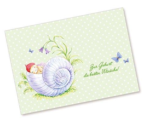 1 Postkarte Babykarte Glückwunschkarte zur Geburt mit SCHLAFENDEM BABY IM SCHNECKEN HAUS IN GRÜN •