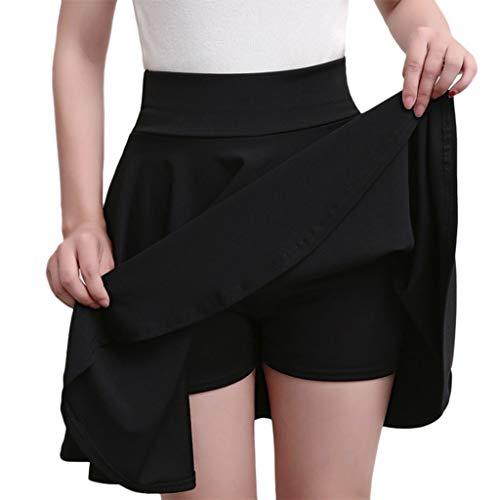 Casual High Waist Hip Solid Slim Skirt Women Sexy Sport Solid Color Short Skorts Mini Skirt (Black, XXXXL)