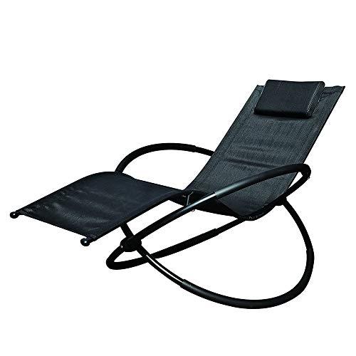 Tumbona, mecedora plegable, silla de jardín con almohada, acero recubierto de polvo, silla con efecto de gravedad cero, apta para descansos cortos