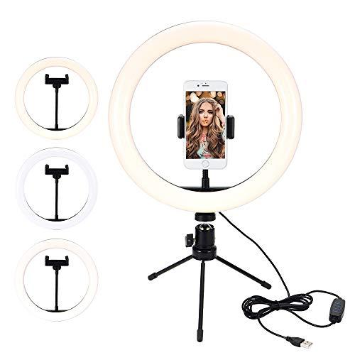 PopHMN Luz de Relleno de Anillo LED Regulable, lámpara de Anillo de teléfono con cámara con trípodes de Mesa para Maquillaje Video Live Studio 18 / 26cm