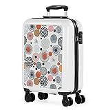 JASLEN - Trolley valigia cabina rigida con 4 ruote doppie 55x40x20cm Bagaglio a mano. Stampa giovanile. policarbonato. 132550, Color Bianco-Wala