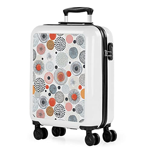 JASLEN - Rigid Cabin Suitcase Trolley met 4 dubbele wielen 55x40x20cm Handbagage. Jeugdig drukwerk. Polycarbonaat. 132550, Color Wit-Wala