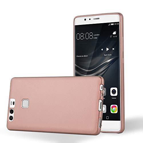 Cadorabo Custodia per Huawei P9 in ORO ROSA METALLICO - Morbida Cover Protettiva Sottile di Silicone TPU con Bordo Protezione - Ultra Slim Case Antiurto Gel Back Bumper Guscio