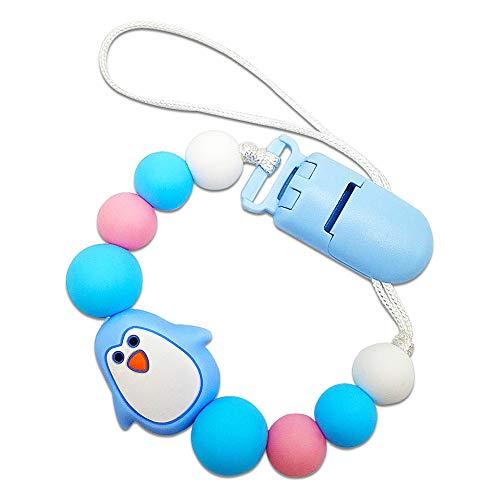 LLMZ Cadena De Chupete Clip Chupete Cadena Para Chupetes Bebé con Pinza de Plástico,Chupetero Pingüino(Azul)
