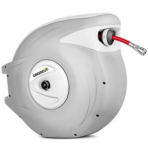 GREENCUT MNA300 - Manguera de aire comprimido de 30m con enrollador automatico, soporte de pared y presion de trabajo 18bars