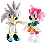 Sonic The Hedgehog Plush Toys Amy Rose & Silver Stuffed Animal Dolls Gift for Children (7.8 Inch)
