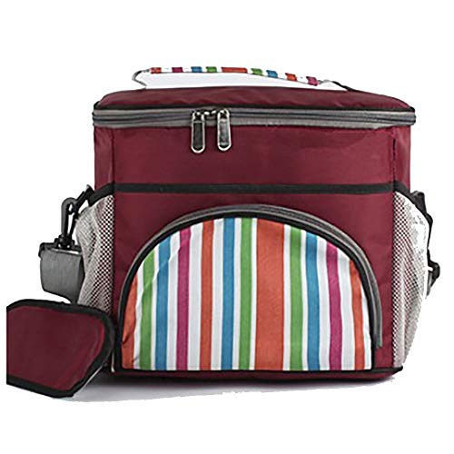 QLJJ Picknicktaschen Große weiche Kühltasche Insulated Lunch Box Picknick Kühl Tote Mit Dispensing Deckel (Orange, Dunkelrot und Blau) zusammenklappbaren Picknick-Korb für Camping/Grill/Familie