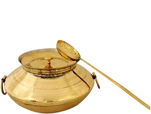 Ecohindu Brassware Serving Bowl with Lid and Laddle,Cooking Utensils for Traditional Cooking,Kitchen Utensils,Tea or Milk Boiling Pot,Wok Pan frying Pot,Biryani Handi,Bhagoni,Patili,Cooking Vessel