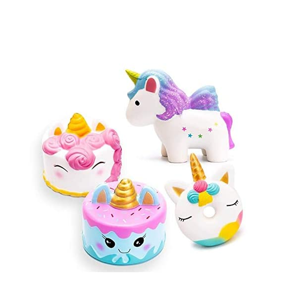 YXJC Fun Toys Squishies, 4pcs Simulation Food Unicorn Donut Squishy, Creamy Aroma Slow Rising Squeeze Toys for Boys and Girls Gifts 3