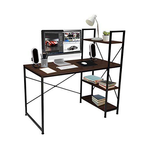 Halter Industrial Home Office Computer Desk with Shelves, Modern Workstation Study Writing Gaming Desk Table with 3 Tier Shelves, Small Desk with Storage, Brown, 47 Inches