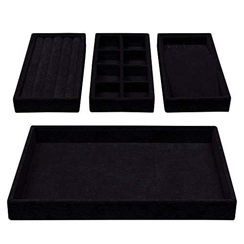 BELLE VOUS Bandejas Joyas - 4 en 1 Exhibidor Organizador de Joyas 35,3x24,2cm Incluye 3 Bandeja Desmontables con 8 Compartimentos para Pendientes, Pulsera y Collares (Negro)